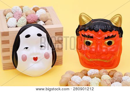 Japanese Traditional Event, Soybean Snacks Are Used On An Annual Event /setsubun.