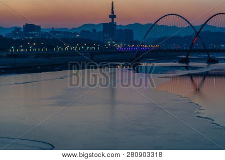 Daejeon,south Korea; January 17, 2019; Lights On Bridge And Double Arches In Expo River Park Glitter