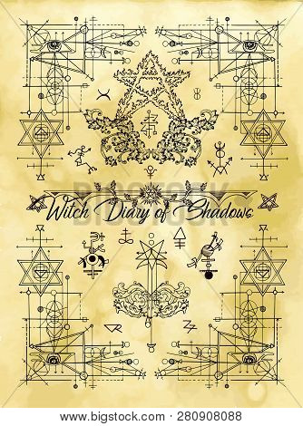 Cover For Witch Diary Of Shadows With Sacred Geometry And Esoteric Symbols And Signs. Magic Wiccan O