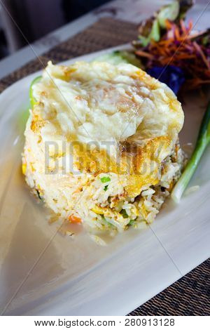 Fried Rice With Vegetables And Fried Egg, Thai Food.