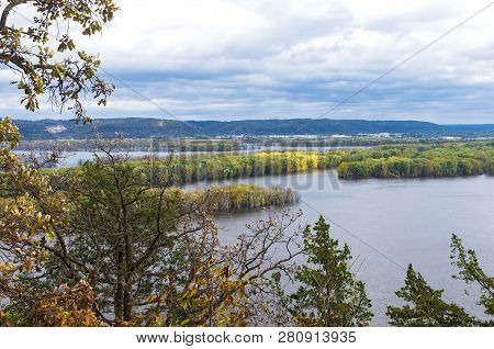 Aerial Above Mississippi River From Effigy Mounds National Monument In Iowa And Wisconsin Across Riv