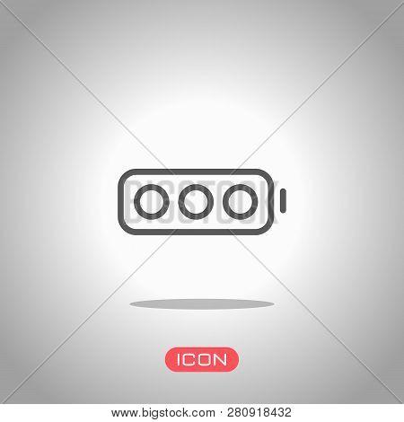 Simple Empty Battery, None Level. Icon Under Spotlight. Gray Background