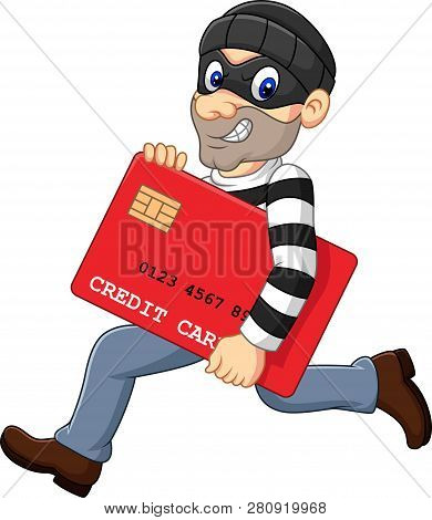 Vector Illustration Of Cartoon Thief In A Mask Stealing A Bank Credit Card And Running