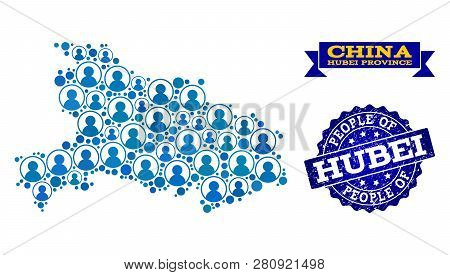 People Collage Of Blue Population Map Of Hubei Province And Rubber Seal Stamp. Vector Seal With Corr