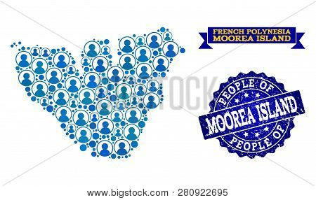 People Composition Of Blue Population Map Of Moorea Island And Corroded Seal Stamp. Vector Seal With