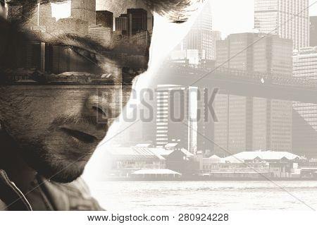 Handsome man and urban skyscraper view , digital art style
