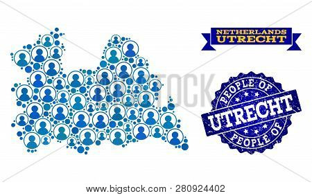 People Collage Of Blue Population Map Of Utrecht Province And Rubber Seal. Vector Seal With Unclean