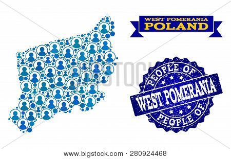 People Composition Of Blue Population Map Of West Pomerania Province And Textured Seal Stamp. Vector