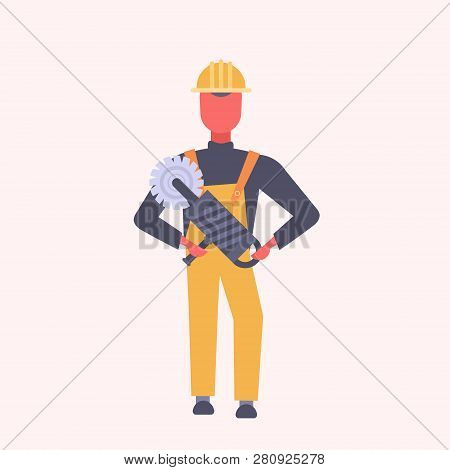 young construction worker holding handheld circular saw tradesman in yellow uniform and helmet male cartoon character full length flat poster