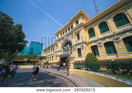 Ho Chi Minh City, Vietnam - 01, 2019: Post Office Or The Saigon Central Post Office Is A Post Office