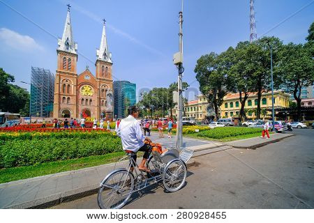 Ho Chi Minh City, Vietnam 01,2019:  Notre Dame Cathedral Or Nha Tho Duc Ba. Notre-dame Cathedral Bas