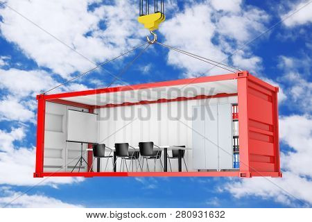 Red Cargo Shipping Container With Removed Side Wall Converted Into An Office During Transportation W