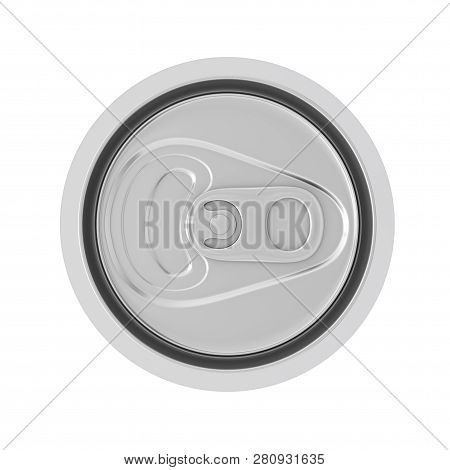 Blank Aluminum Soft Drink, Coda, Beer Can Top View On A White Background. 3d Rendering