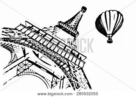 France Concept. Paris Sketches Hand Drawing Style Eiffel Tower And Hot Air Balloon On A Yellow Backg