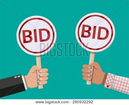Hands Holding Auction Paddle. Bid Plate. Auction Competition. Vector Illustration In Flat Style
