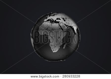 Abstract Metal Earth Globe On A Black Background. 3d Rendering