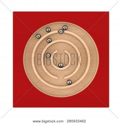 Red Wooden Education Labyrinth Maze Toy Game For Children Memory Advance Learning On A White Backgro