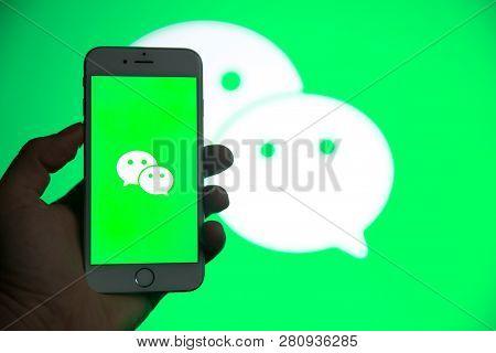 Tula, Russia - January 27, 2019: Wechat Logo Displayed On A Modern Smartphone