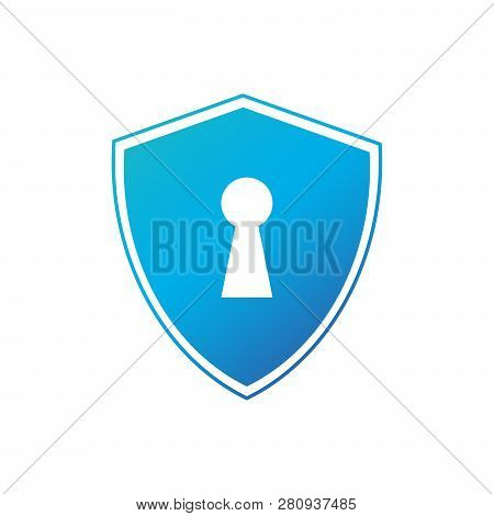 Cyber Security Concept: Shield With Keyhole Icon On Digital Data. Cyber Data Security Or Information