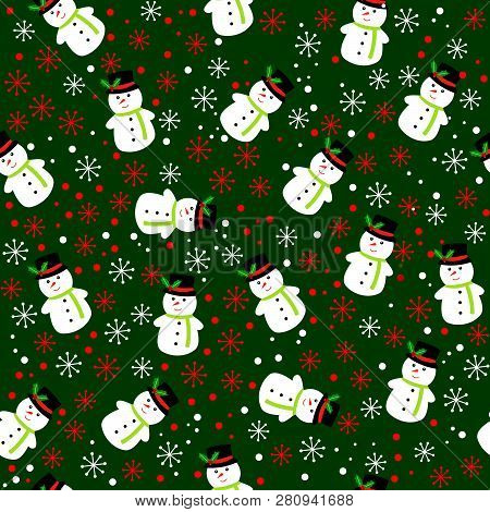 Merry Christmas Background. Christmas Background.seamless Pattern For Winter And Christmas Theme. Ve