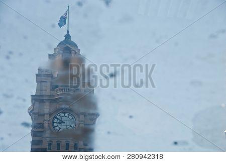 Melbourne, Australia - July 29, 2018: Vintage Classical Clocktower Of Melbourne Flinders Street Trai