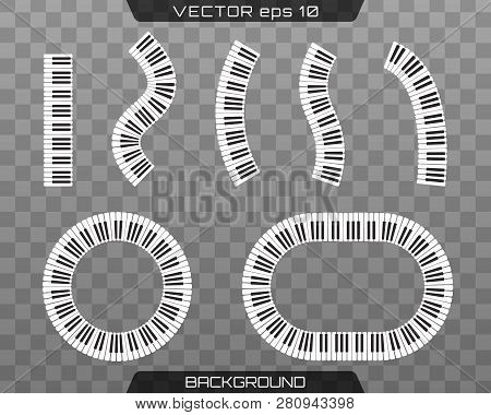 Piano Keyboards Vector Illustrations. Abstract Piano Keyboard In A Circle. Piano Keys Decorative Des
