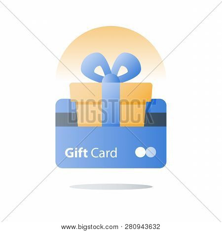 Gift Card, Loyalty Program, Earn Reward, Redeem Gift, Perks Concept, Vector Icon, Flat Illustration