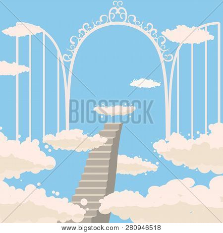 Road, Stairs To Heaven, Open Gates Of Heaven, Sky, Clouds, Christianity, Vector, Isolated, Cartoon S