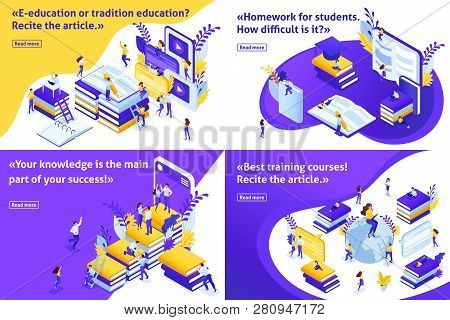 Set Isometric Concept E-education Or Tradition Education, Students Around The World To Receive Free