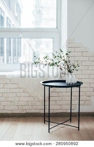 Minimalist Scandinavian Home Interior, Coffee Table Arrangement In White Room