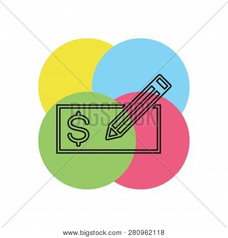 Edit Card - Credit Card Or Bank Cheque Or Cheque Voucher - A Bank Icon. Thin Line Pictogram - Outlin