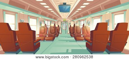 Vector Background Of Spacious Cabin In Bullet Train, Seats With Brown Leather And Tv. Bright Salon W