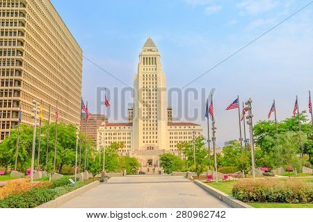 Front View Of Los Angeles City Hall And Civic Center Buildings In Downtown Of La. The Building Is Ho