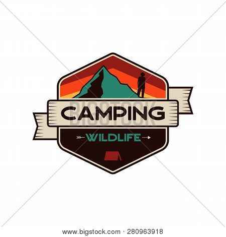 Camping Wildlife Badge. Mountain Adventure Emblem In Retro Colors Style. Featuring Mountains And Hik