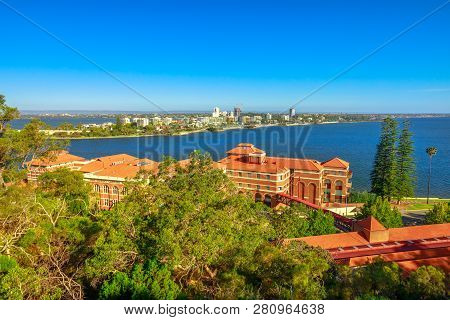 Aerial View Of South Perth Suburb From Kings Park And Botanical Garden On The Swan River, Western Au