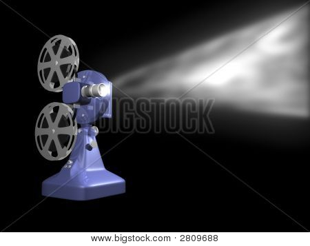 Blue Film Projector Playing