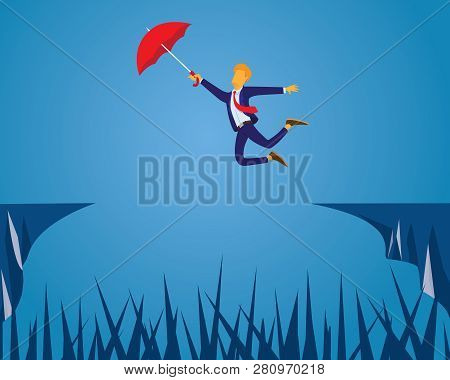 Businessman Flying With Umbrella