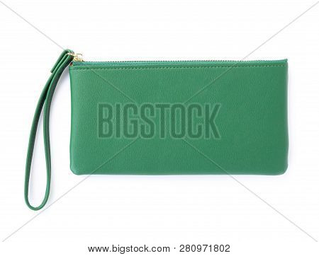 Closeup Modern Green Woman Wallet Fashion On White Background