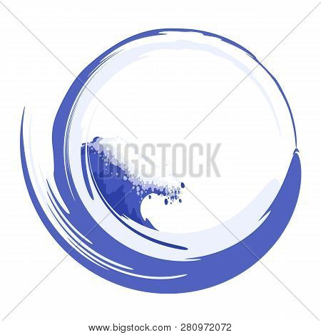 Water Circle With Sea Wave. Vector Image.