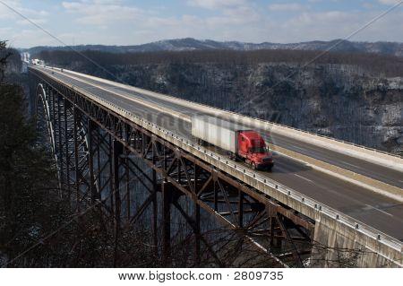 Trucker On New River Gorge Bridge