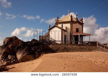 Senhor da Pedra chapel at the beach of Miramar, Gaia, Portugal