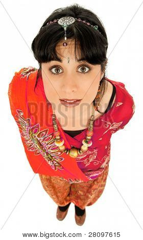 young beautiful happy woman in a hindu dress, isolated on white, full body picture