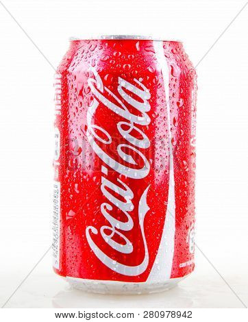 Aytos, Bulgaria - January 28, 2014: Coca-cola Isolated On White Background. Coca-cola Is A Carbonate
