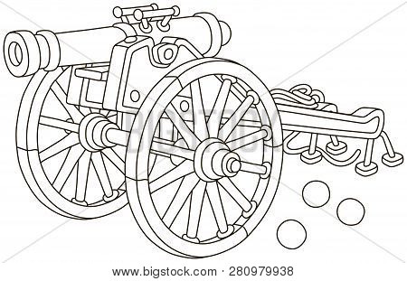 Old pirate gun with cast-iron cannonballs and big wooden wheels, black and white vector illustration in a cartoon style for a coloring book poster