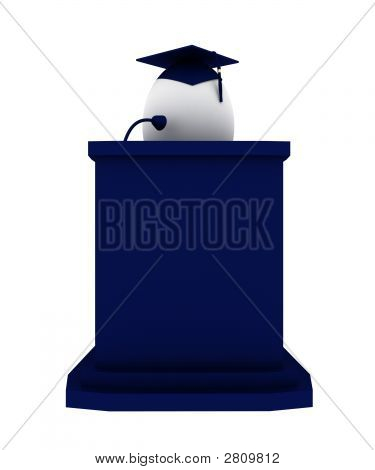 Render Of An Egg Graduate Making A Speach Positioned Behind Blue Podium