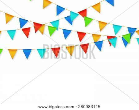 Pennant Flag Garland. Birthday Party Fiesta Carnival Decoration. Garlands With Color Flags 3d Vector