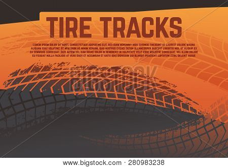 Tire Tread Tracks Background. Grunge Racing Tire Road Marks. Abstract Motorcycle Rally Vector Poster