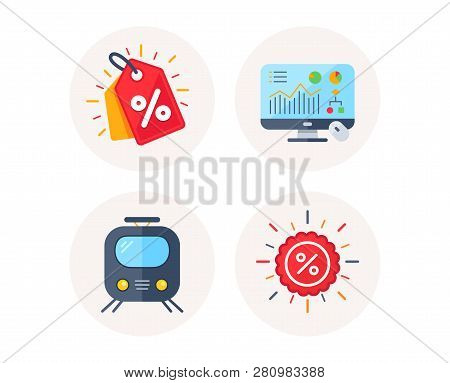 Set Of Discount Tag, Railway Transport And Analytics Graph Icons. Sale Discount Sign. Sale Coupon, S
