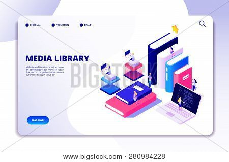 Online Library Landing Page. Students In Bibliotheque, Academic Books. Ebook Reading Technology Educ
