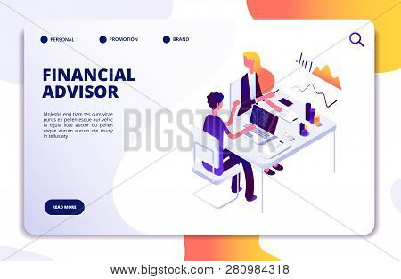 Financial Advisor Isometric Concept. Business Data Analysis With Professional Team. Money Investment
